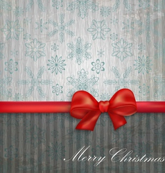 background with snowflakes and red bow vector image vector image