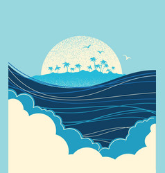 big ocean waves and tropical island blue vector image