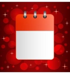 Blank sheet of calendar on festive colorful vector image