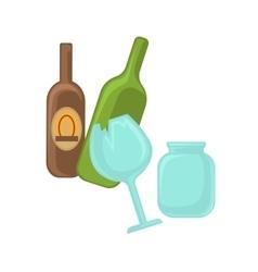 Broken glass jar and green bottle vector