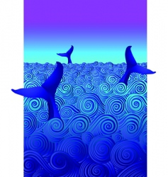 diving whales vector image vector image