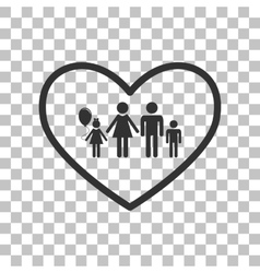 Family sign in heart shape Dark gray vector image vector image
