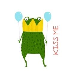 Fun Green Magic Frog Prince Got Stuck in Crown vector image