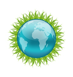 Icon earth with grass environment symbol vector image vector image