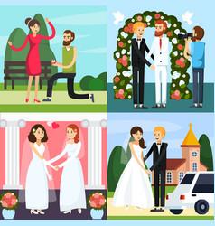 wedding people orthogonal icon set vector image vector image