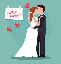 couple just married together vector image