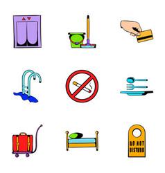 hostel icons set cartoon style vector image