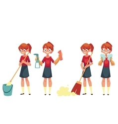 Teenage girl cleaning the house doing chores vector image