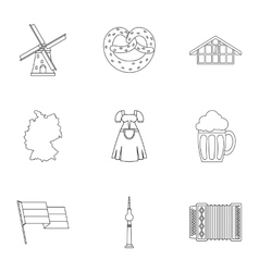 Tourism in Germany icons set outline style vector image vector image