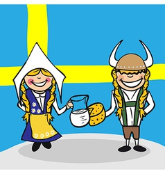 Welcome to Sweden people vector image vector image