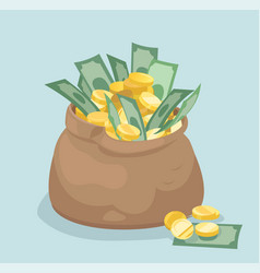 bag with coins and banknotes flat style vector image vector image
