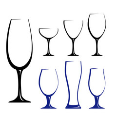 black silhouettes of glasses vector image