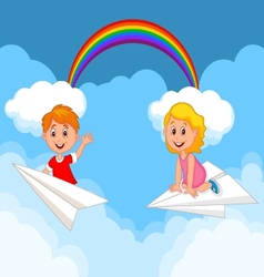 Cartoon kids on a paper plane vector image