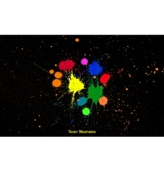 Colorful bright ink splashes over black vector image