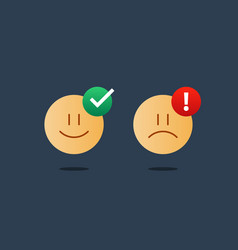 opposite emotions smile emoji sad icon customer vector image vector image