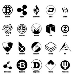 cryptocurrency types icons set simple style vector image