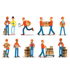 delivery men characters people shipping products vector image