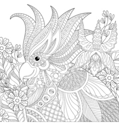 Exotic zentangle cockatoo parrot for adult anti vector image vector image