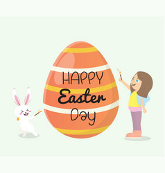 girl and bunny painted easter eggs vector image