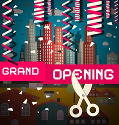 Grand Opening with Confetti and Scissors on vector image