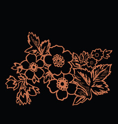orange flower on a black background vector image vector image