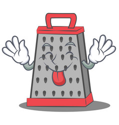 Tongue out kitchen grater character cartoon vector