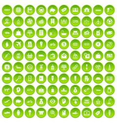 100 economy icons set green vector