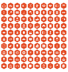100 tea time food icons hexagon orange vector