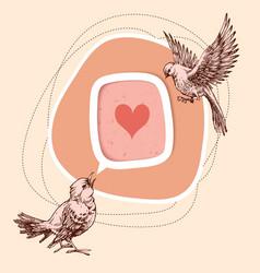 a couple birds sharing love cute birds vector image