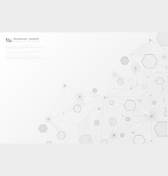 abstract technology gray geometric hexagon lines vector image
