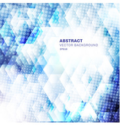 Abstract white and blue geometric hexagons shapes vector