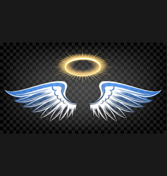 angel wings with nimbus vector image