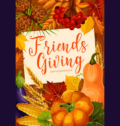 autumnal friendsgiving potluck dinner vector image