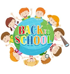 Back to school theme with kids around the globe vector