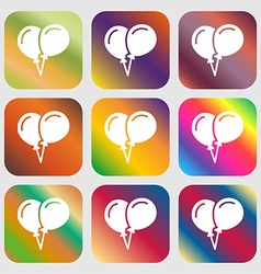 balloon Icon sign Nine buttons with bright vector image