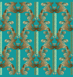 baroque seamless pattern floral striped vector image