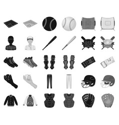 baseball and attributes blackmonochrome icons in vector image