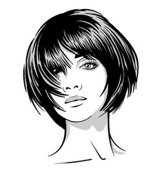 beautiful girl portrait black and white style vector image