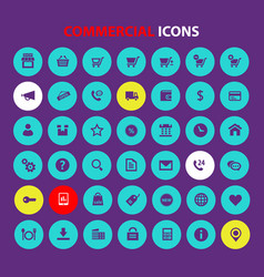 big all commercial icon set trendy flat icons vector image