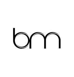 Bm logo monogram with slice rounded modern design vector
