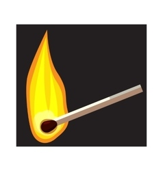 Burning match icon cartoon style vector image