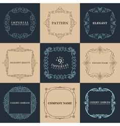 Calligraphic frames set vintage elegant vector