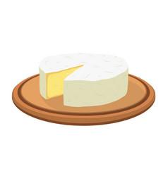 Camembert cheese on plate cartoon flat vector