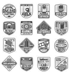 Car spare parts garage service station icons vector