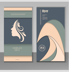 Cards with beautiful woman faces vector
