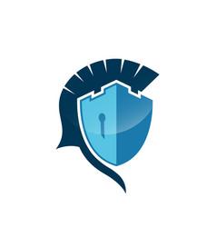 Castle spartan shield logo template danger skull vector
