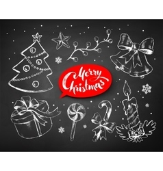 Christmas chalked line art set vector image