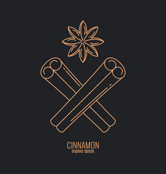 Cinnamon sticks logo anise and cinnamon spices vector