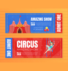 circus show horizontal tickets set amazing show vector image