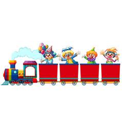 Clowns riding on train vector